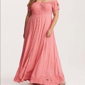 Pink Off-Shoulder Embroidered Maxi Dress